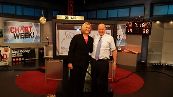 Carley Garner with Jim Cramer at CNBC studio