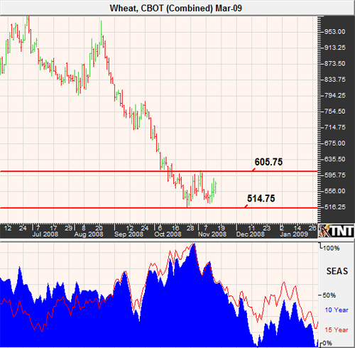 Daily Chart Wheat Futures November 2008